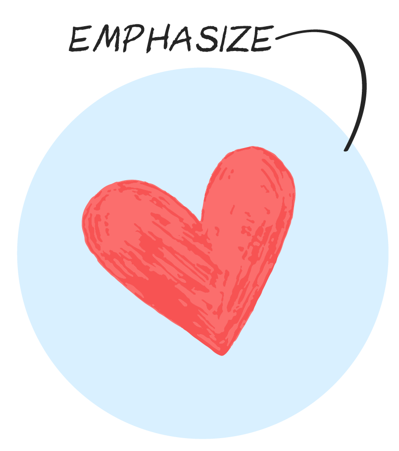 Drawing of a heart, with the word emphasize